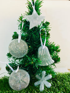 Christmas tree decorations set - silver glitter