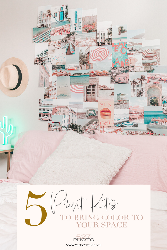 Collage kit pastel pink wall art apartment decor