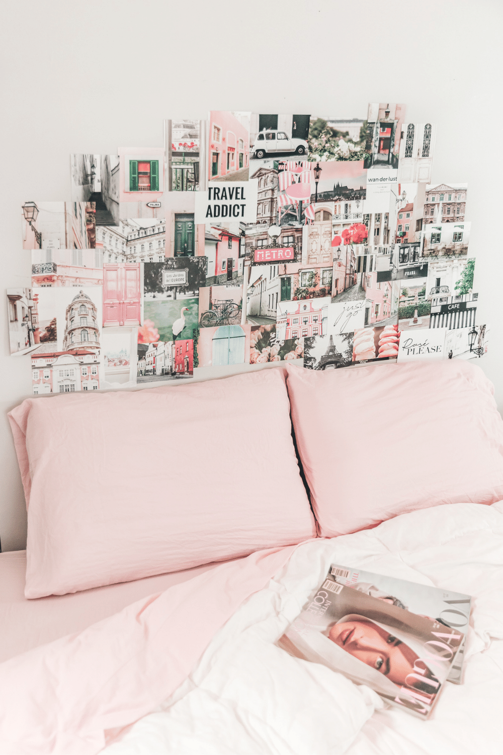 Aesthetic collage dorm room ideas travel pink and black