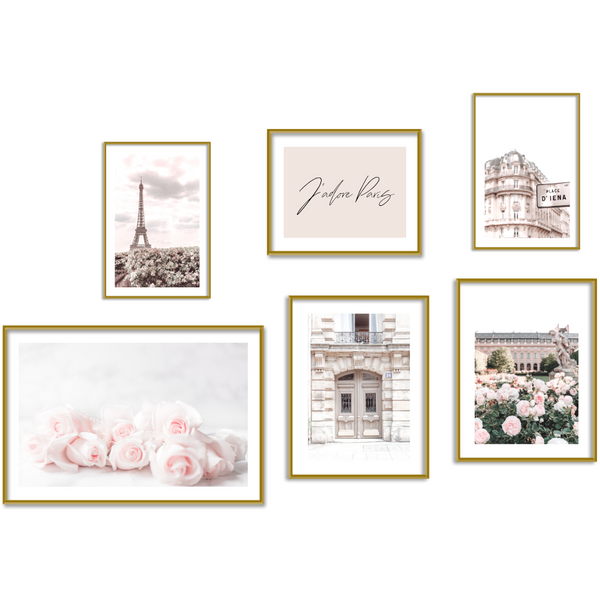 Modern vintage Paris pink art print set