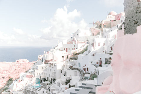 santorini greece blush prints
