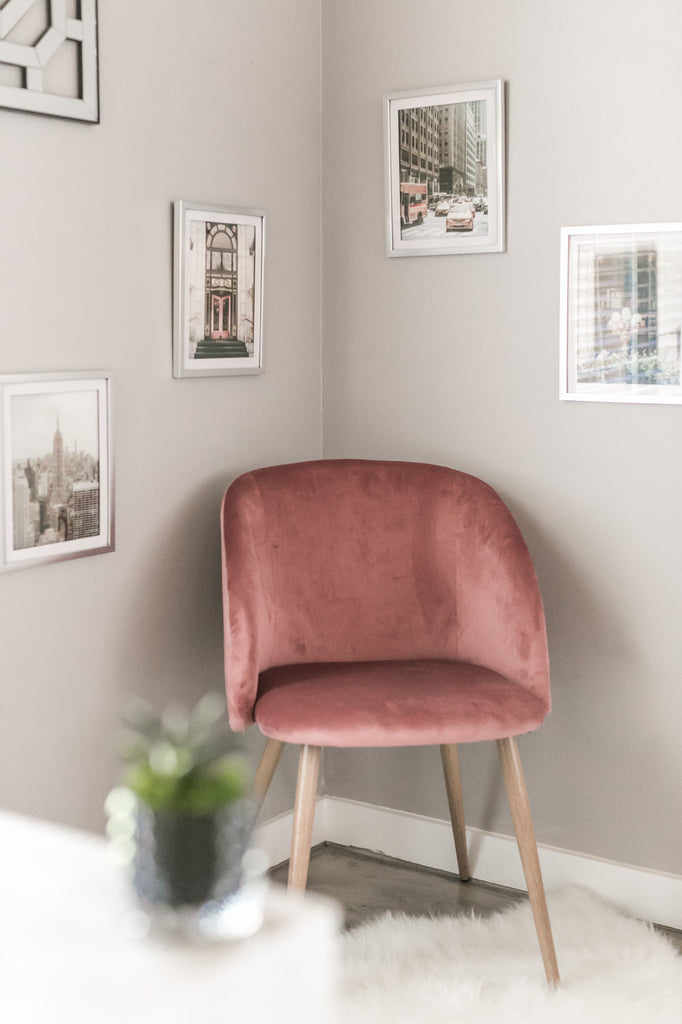 rose pink mid modern accent chair from amazon