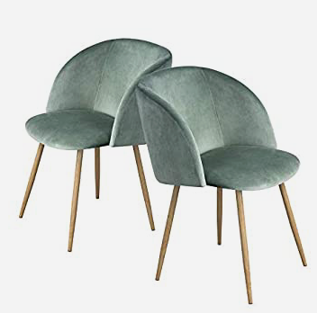Sage green pastel dining room chairs