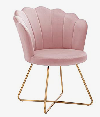 Pink accent chair with gold