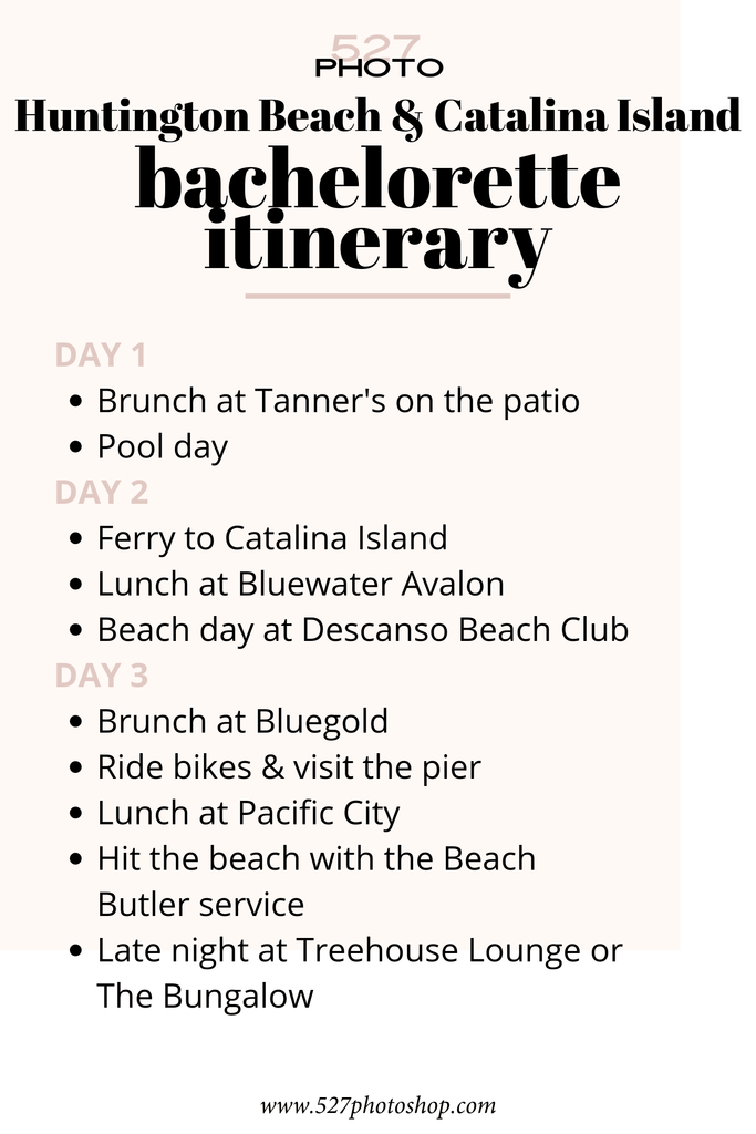 bachelorette party itinerary california
