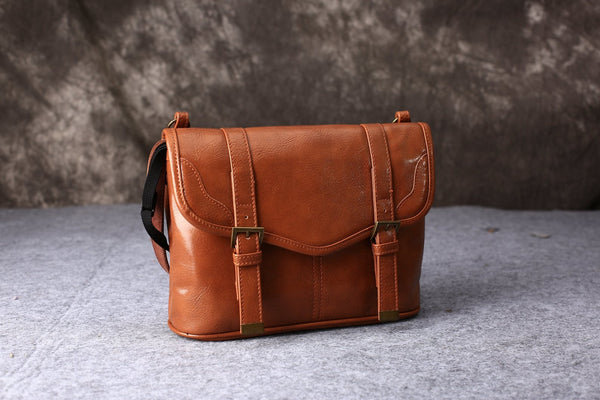 affordable tan leather camera bag