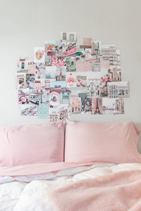 Pink aesthetic photo wall collage kit printed pictures of Paris