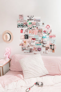 Pink aesthetic photo wall collage kit printed