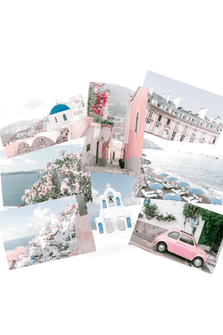 Small photo wall collage kit pictures in pink and blue