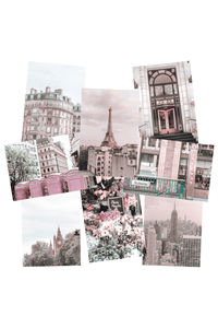 Pink aesthetic photo wall collage kit printed pictures of Paris , New York City and London