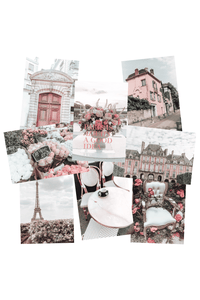 Paris photos collage wall kit small prints in pink and black