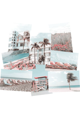 Beach aesthetic photo wall collage kit printed pictures in orange and cyan blue
