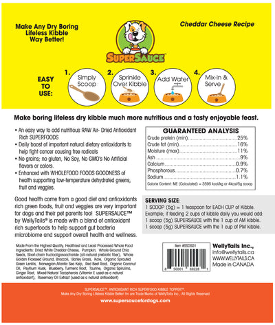 White Cheddar Cheese  + SUPERFOODS 5.4 oz. (153g) MADE IN CANADA	(natural nutrient Guide)