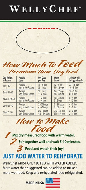 WellyChef  Grain Free TURKEY Recipe  Premium Raw Dog Food Low Temperature Dehydrated  2 lbs. (0.907Kg)
