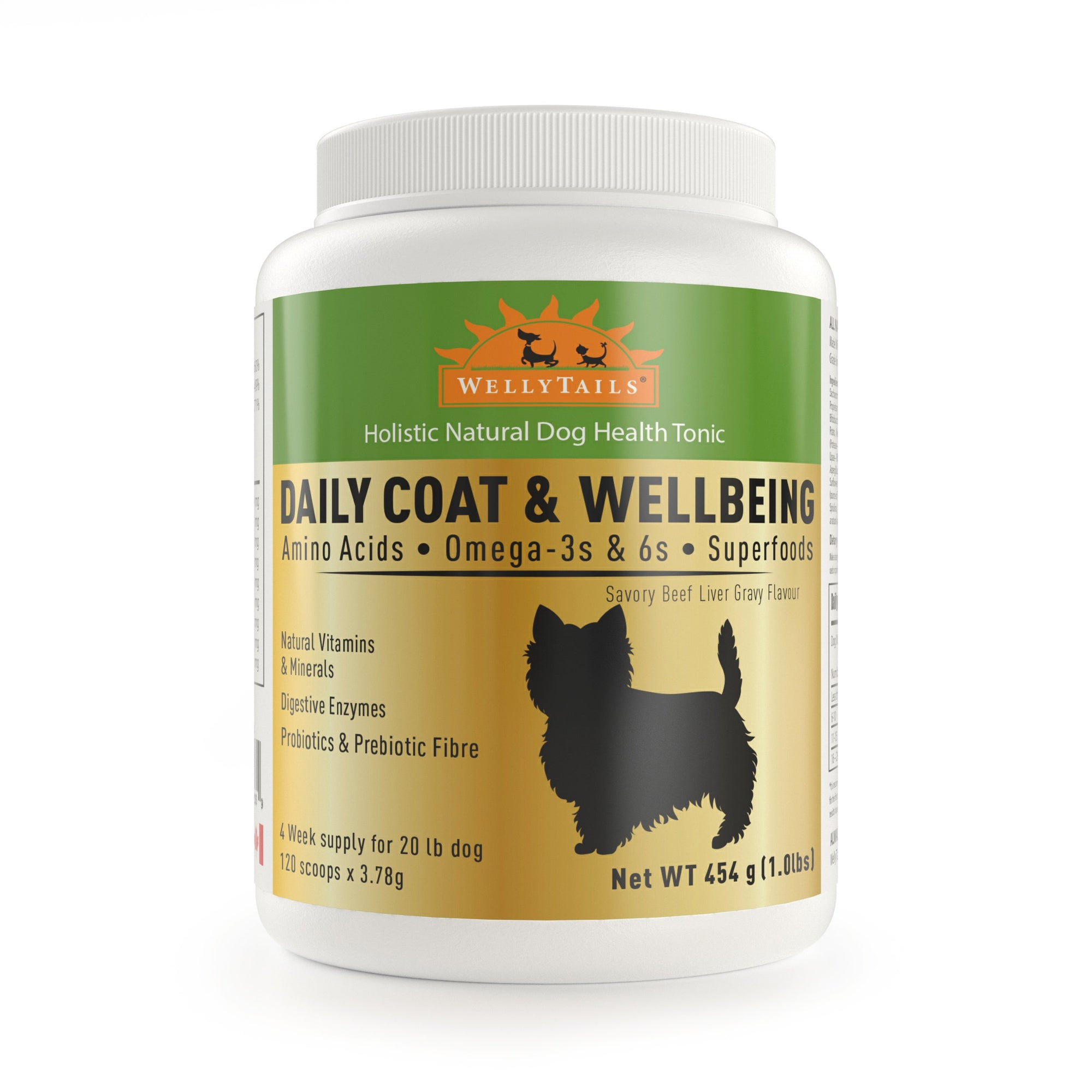 WELLYTAILS® DAILY COAT & WELLBEING - FOR SMALL DOGS  454 grams (1 Lb.)  MADE IN CANADA