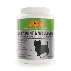 WELLYTAILS® DAILY JOINT & WELLBEING - FOR SMALL DOGS  454 grams (1Lb)  MADE IN CANADA