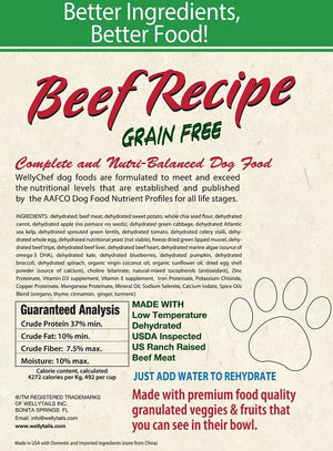 WellyChef Grain Free BEEF Recipe  Premium Raw Dog Food Low Temperature Dehydrated  10 lbs. (4.54Kg)