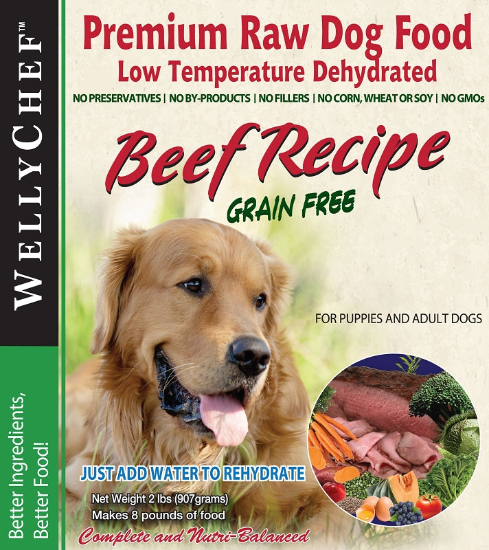 WellyChef  Grain Free BEEF Recipe  Premium Raw Dog Food Low Temperature Dehydrated  2 lbs. (0.907Kg)