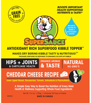 SUPERSAUCE™  White Cheddar Cheese + HIPS & JOINTS Health 5.4 oz. (153g) MADE IN CANADA