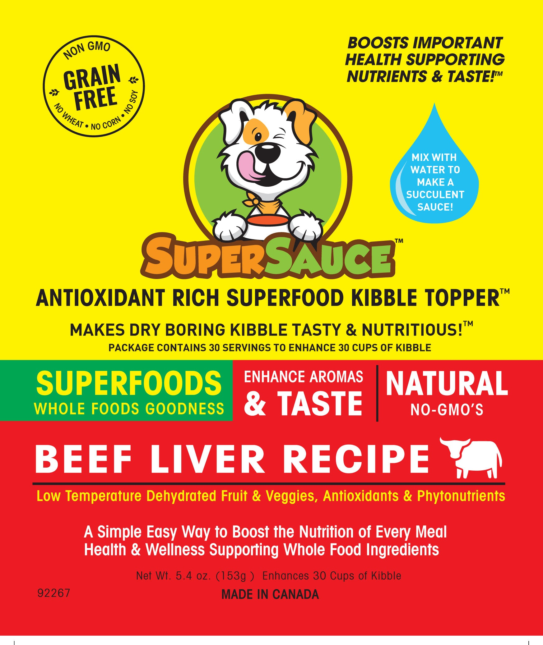 SUPERSAUCE™ Beef Liver  + SUPERFOODS 5.4 oz. (153g) MADE IN CANADA