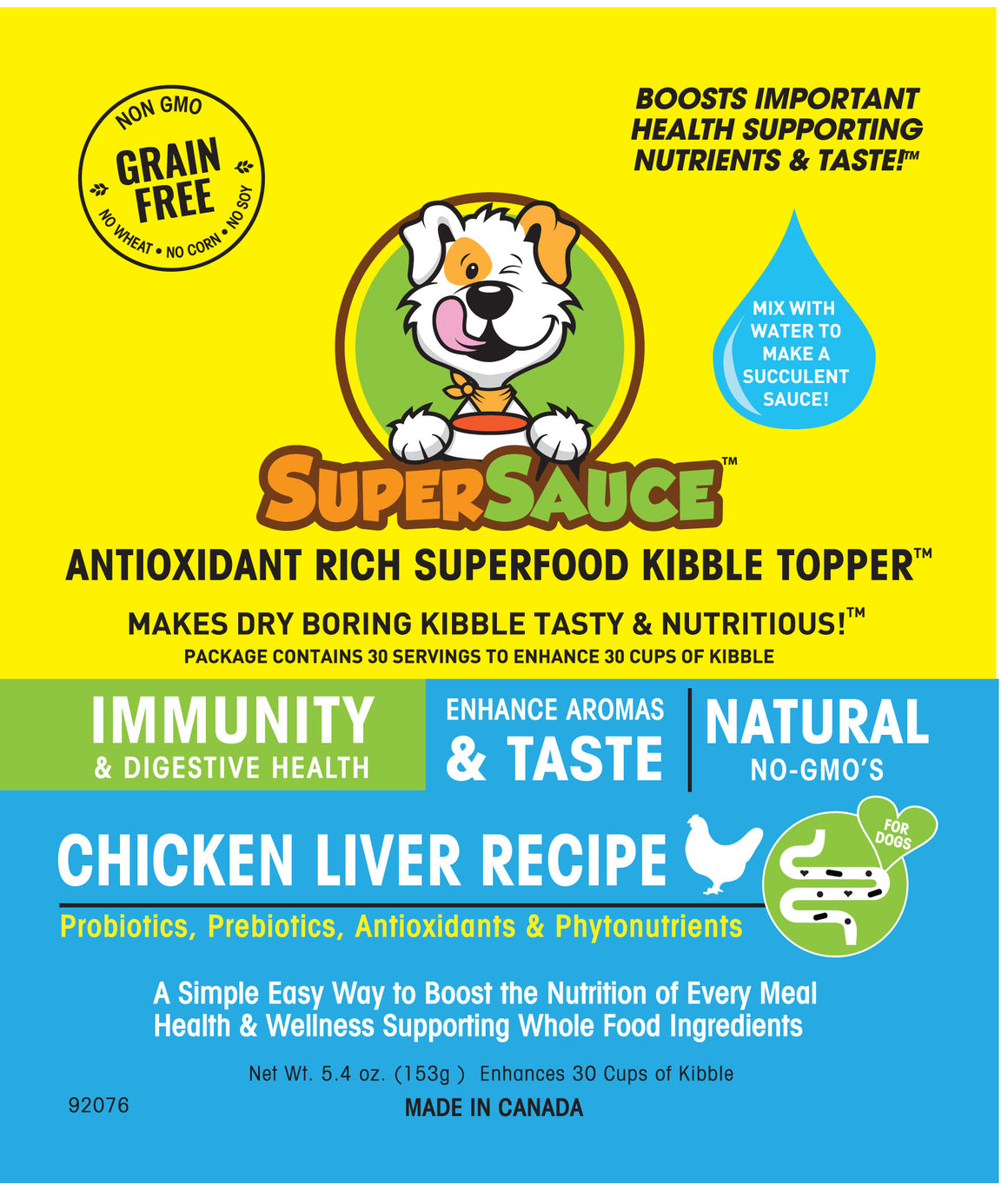 SUPERSAUCE™ Chicken Liver + PROBIOTICS Digestive Health 5.4 oz. (153g) MADE IN CANADA