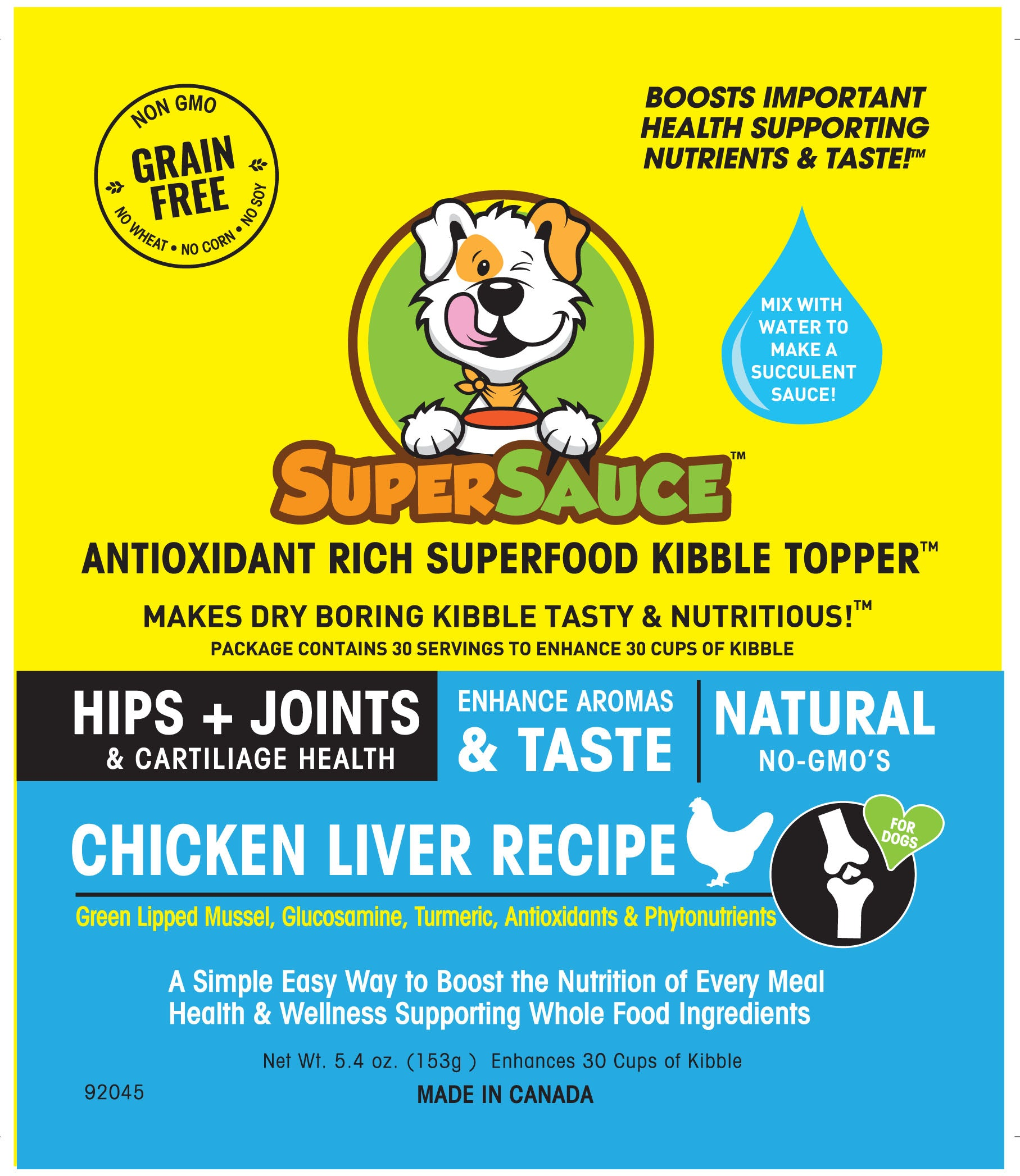 SUPERSAUCE™ Chicken Liver + HIPS & JOINTS Health 5.4 oz. (153g) MADE IN CANADA