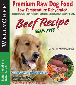 WellyChef  Grain Free BEEF Recipe  Premium Raw Dog Food Low Temperature Dehydrated  4 lbs. (1.81Kg)