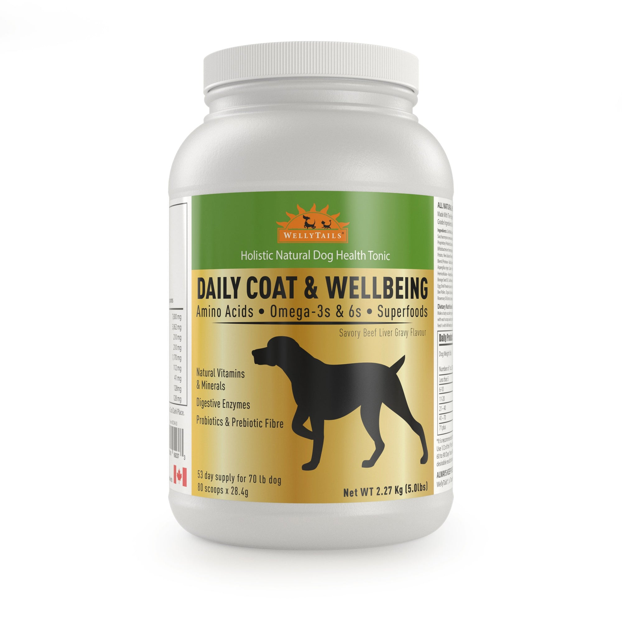 WELLYTAILS® DAILY COAT & WELLBEING  2.27Kg (5 Lbs.) MADE IN CANADA