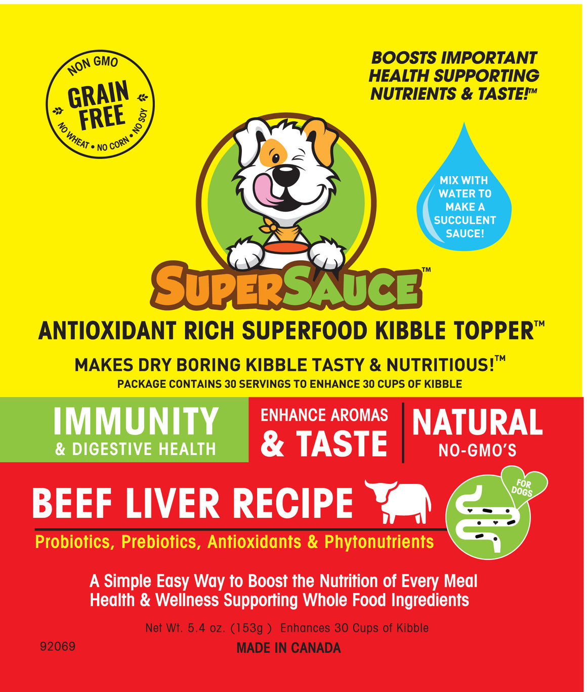 SUPERSAUCE™ Beef Liver + PROBIOTICS Digestive Health 5.4 oz. (153g) MADE IN CANADA				New Product - Please enter name here
