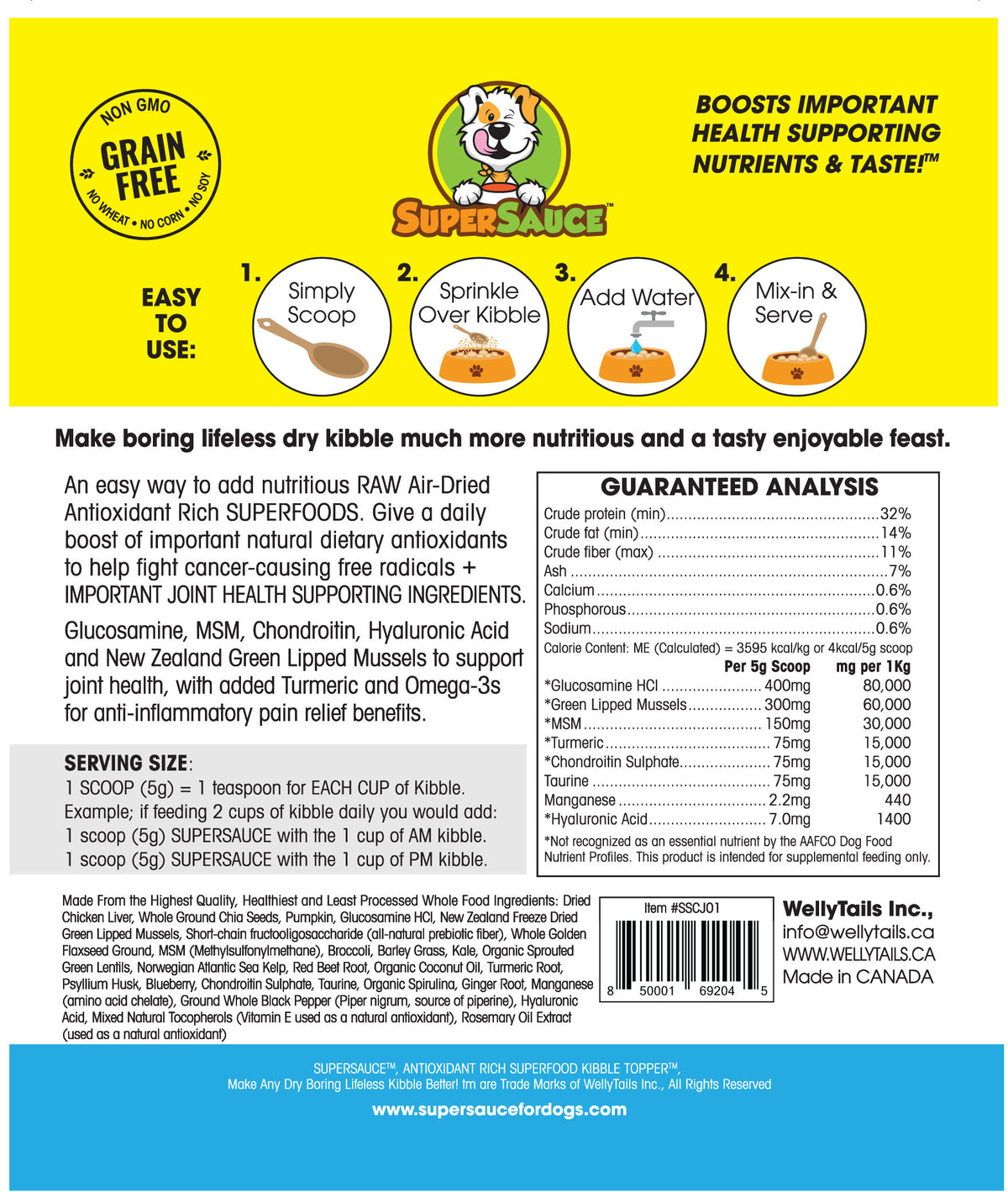 Chicken Liver + HIPS & JOINTS Health 5.4 oz. (153g) MADE IN CANADA- Nutrition guide+ Ingredients