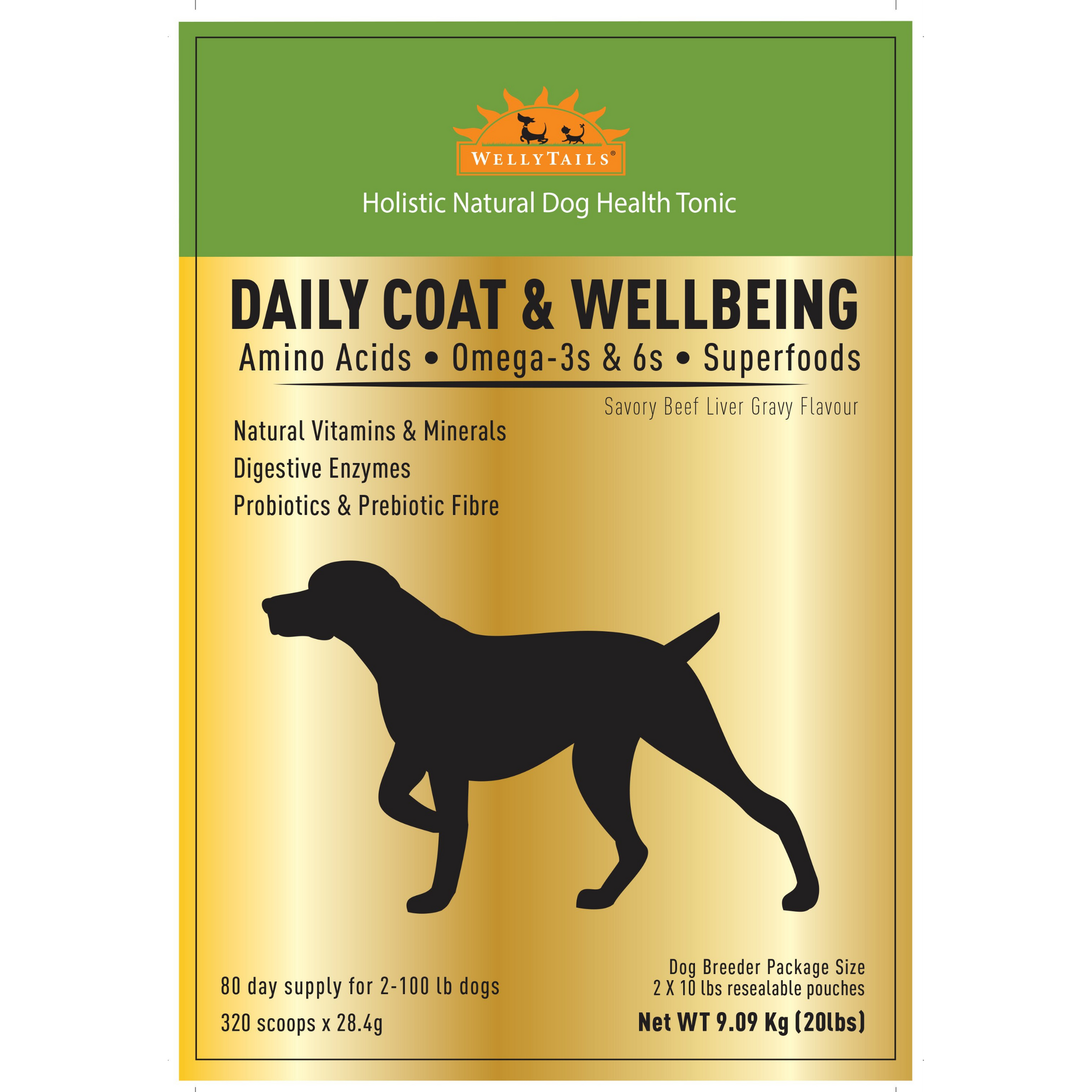 WELLYTAILS® DAILY COAT & WELLBEING 9.08Kg (20 Lbs) MADE IN CANADA