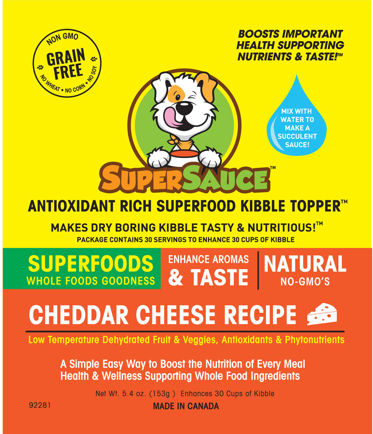 SUPERSAUCE™ White Cheddar Cheese  + SUPERFOODS  MADE IN CANADA Dog Kibble topper- WellyTails