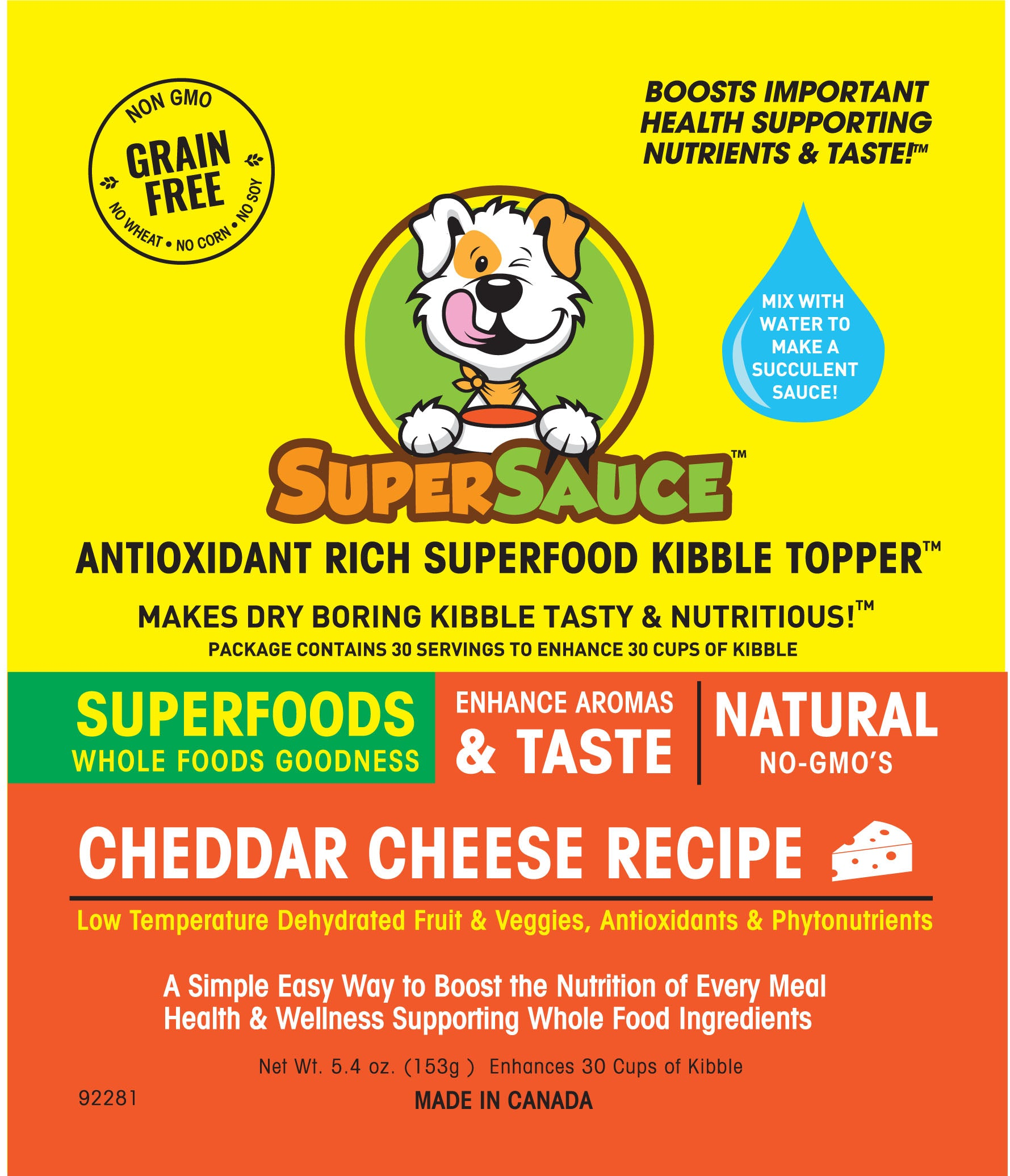 SUPERSAUCE™ White Cheddar Cheese  + SUPERFOODS 5.4 oz. (153g) MADE IN CANADA				New Product - Please enter name here