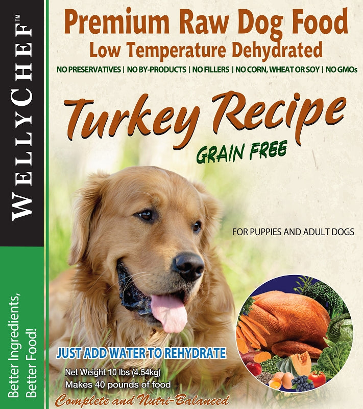 WellyChef Grain Free TURKEY  Recipe  Premium Raw Dog Food Low Temperature Dehydrated  10 lbs. (4.54Kg)
