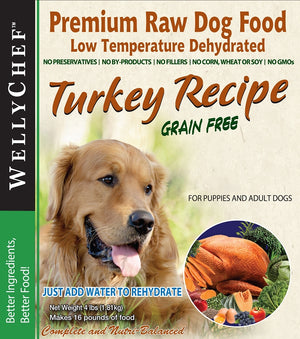 WellyChef  Grain Free TURKEY Recipe  Premium Raw Dog Food Low Temperature Dehydrated  4 lbs. (1.81Kg)