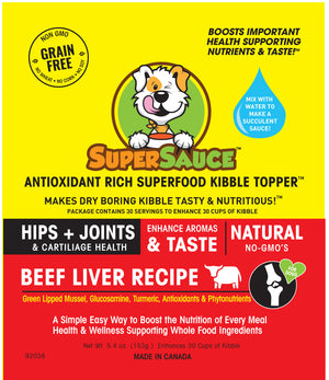 SUPERSAUCE™ Beef Liver + HIPS & JOINTS Health 5.4 oz. (153g)     MADE IN CANADA