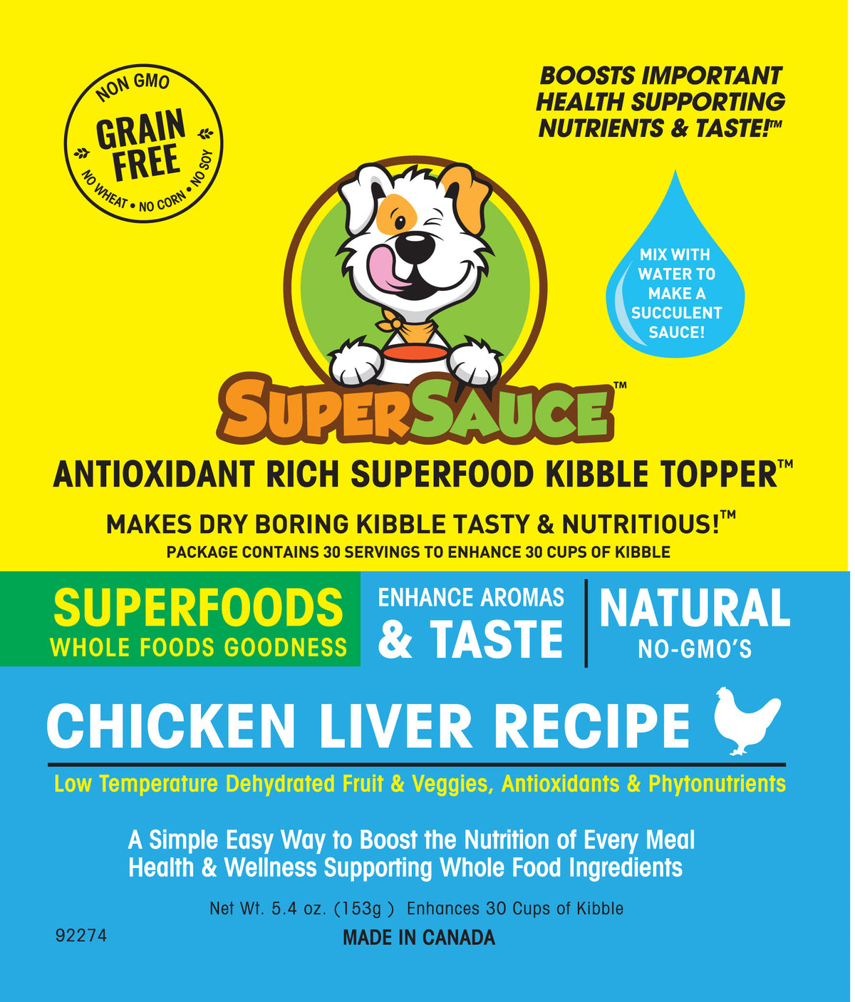 SUPERSAUCE™ Chicken Liver + SUPERFOODS 5.4 oz. (153g) MADE IN CANADA	Dog Kibble Topper - WellyTails