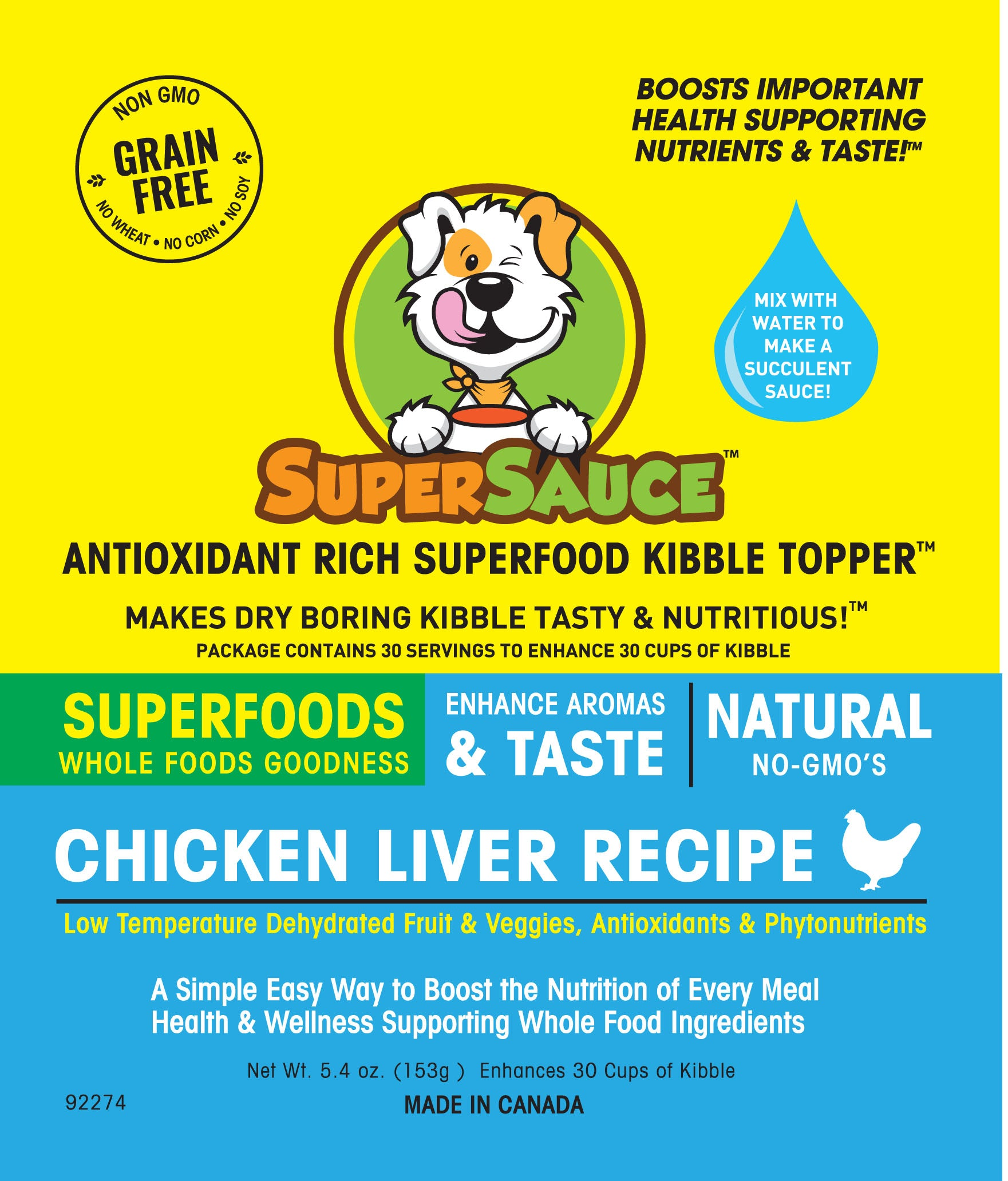 SUPERSAUCE™ Chicken Liver + SUPERFOODS 5.4 oz. (153g) MADE IN CANADA				New Product - Please enter name here