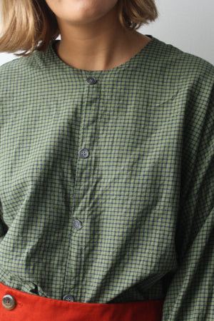 Jardin Check Collarless Shirt - Zenzero Clothing