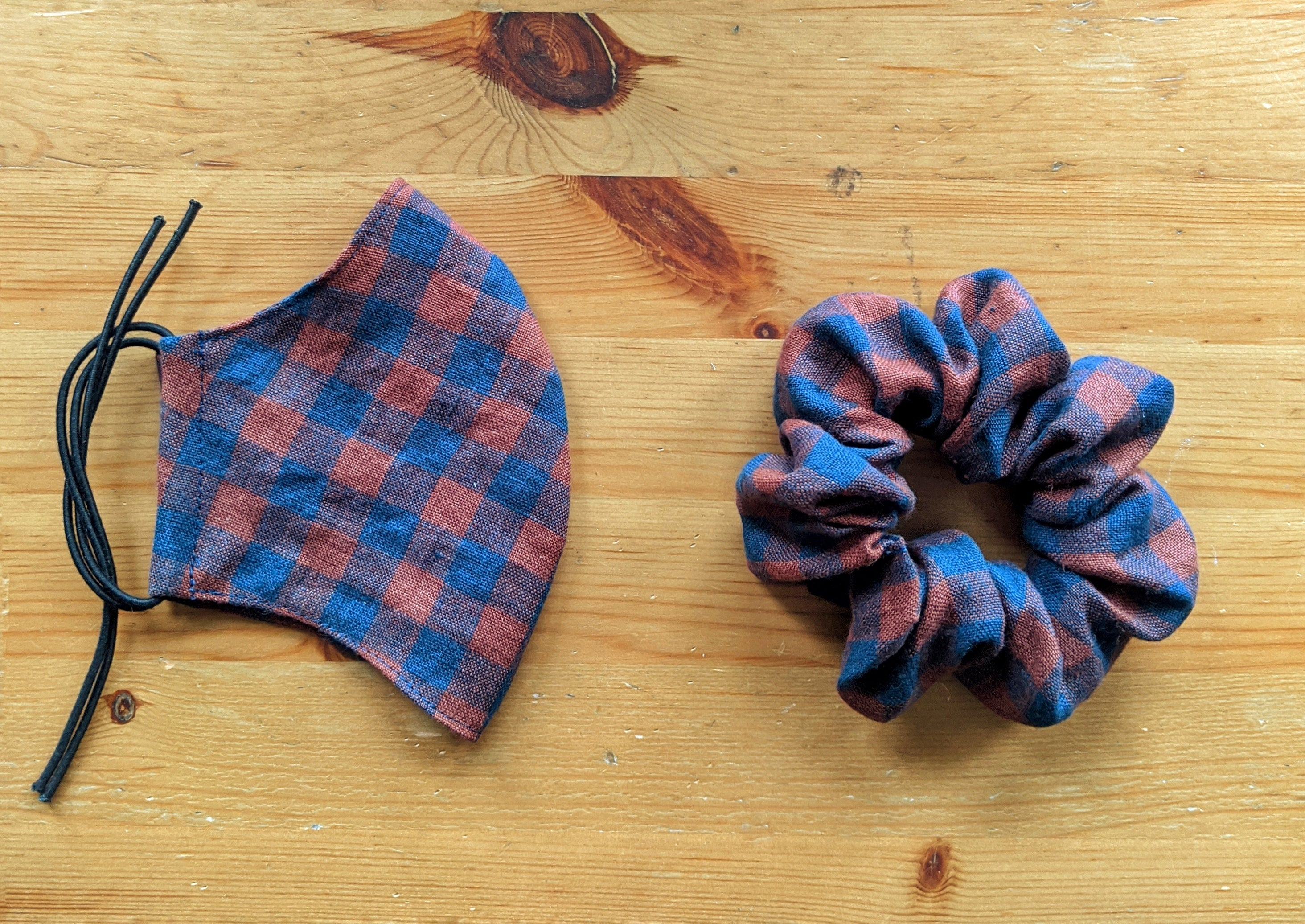 Ochre and Navy Gingham Scrunchie - Zenzero Clothing