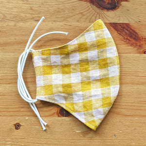 Pink and Yellow Gingham Face Mask - Zenzero Clothing