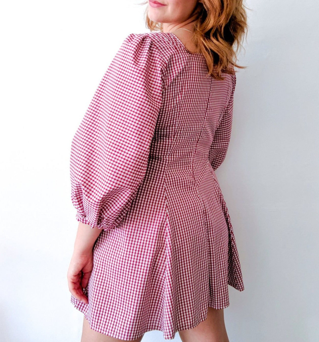 Ethical red and white check gingham milkmaid mini dress