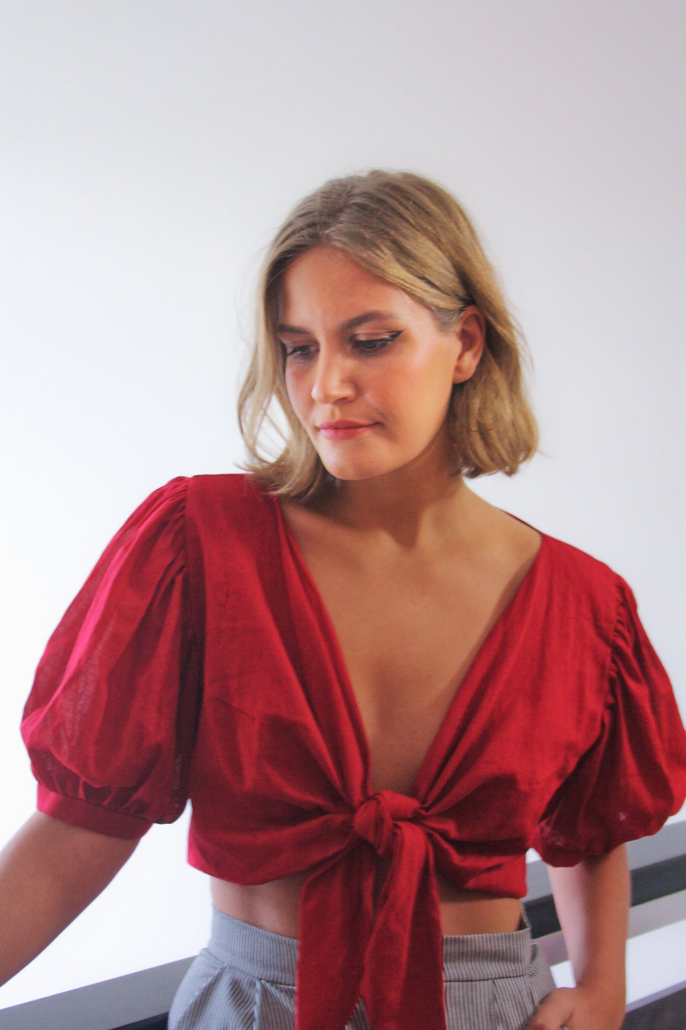 Ethically made organic muslin red puff sleeve tie front crop top