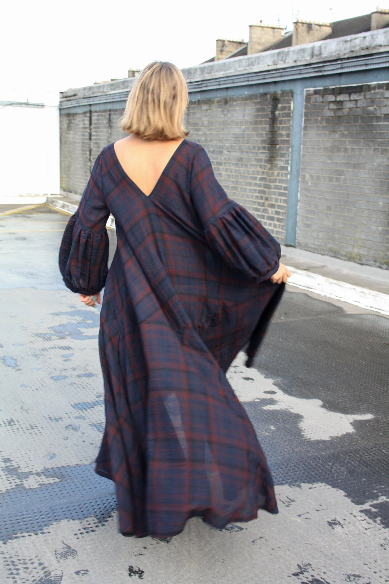 Ethically made sustainable tartan maxi dress