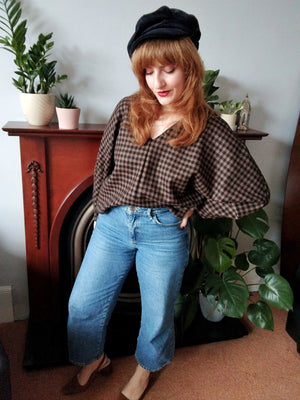 Ethical sustainable reclaimed tan and black gingham check wool sweater