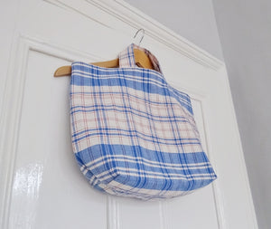 Ethically made sustainable repurposed checked linen tote bag
