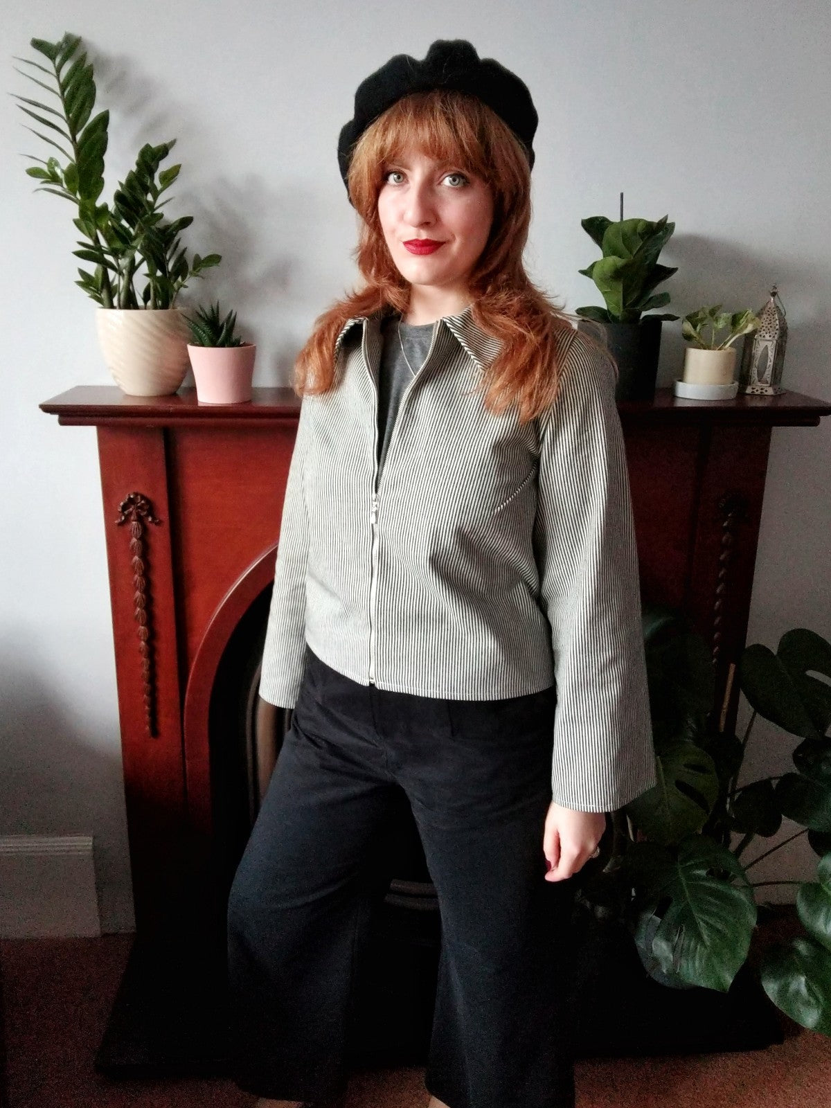 Repurposed sustainable ethical denim skinny stripe jacket
