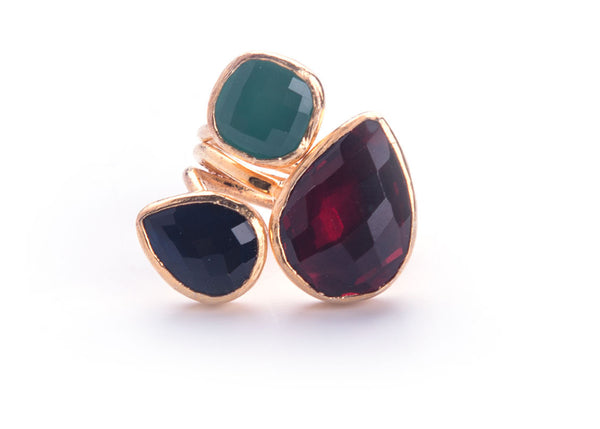 Granat Sapphire Teal Stone Ring