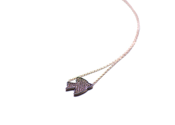 Bird Rose Gold Plated Silver Necklace