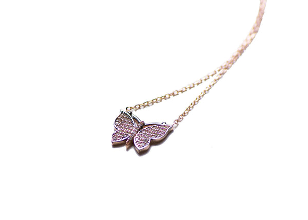 Butterfly Rose Gold Plated Silver Necklace